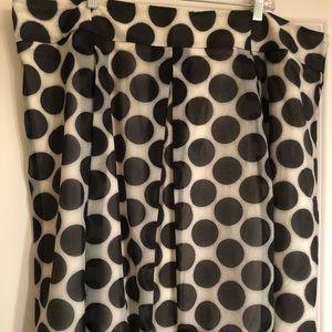 Eloquii polka dot midi skirt, black on cream, 22W